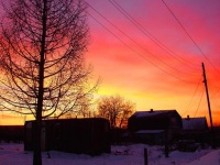 Рассвет на улице Бисерской. Посёлок Тёплая Гора